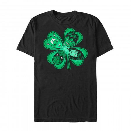 Avengers Shamrock St Patricks Day Black T-Shirt