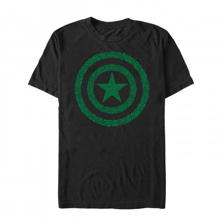 Captain America Shamrock Shield Black St Patrick's Day T-Shirt
