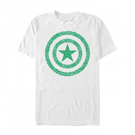 Captain America Shamrock Shield White St Patrick's Day T-Shirt