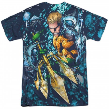 Aquaman Trident Front and Back Sublimated Men's T-Shirt