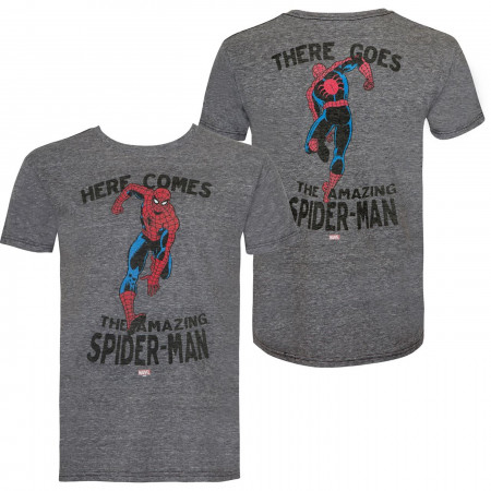 Spider-Man Hi & Bye Front and Back Print Retro Brand Vintage T-Shirt