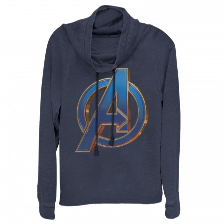 Avengers Endgame Blue Logo Women's Cowl Neck Sweater