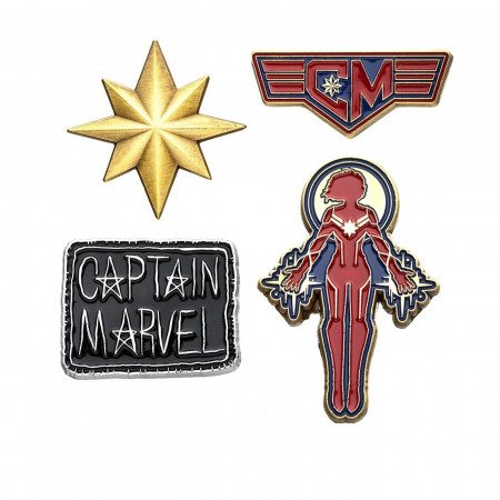 Captain Marvel Enamel Pin 4-Piece Set