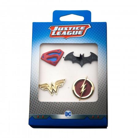 Justice League Superman, Batman, Wonder Woman and The Flash Enamel 4-Piece Pin Set