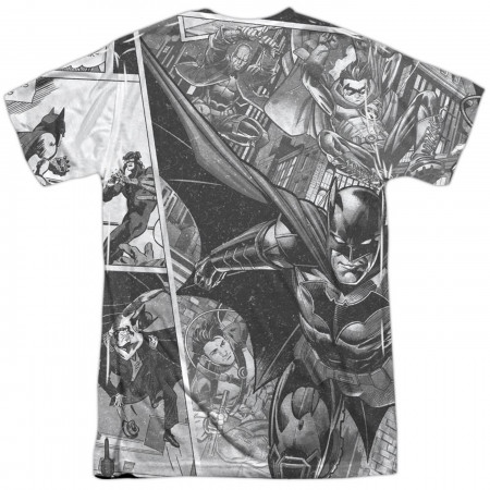 Batman 80th Logo Collage Sublimated Front and Back Print Men's T-Shirt