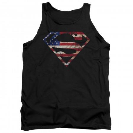 Superman Classic Logo American Flag Tank Top
