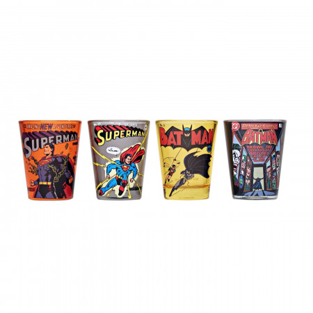 DC Comics Batman and Superman Comic Covers Shot Glass Set