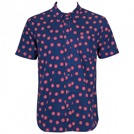 Captain America All Over Shield Print Button Down