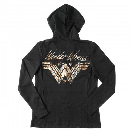 Wonder Woman Shield Black Hoodie