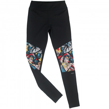 Wonder Woman Comic Print Biker Leggings