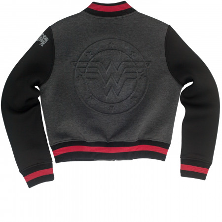 Wonder Woman Embossed Logo Varsity Jacket
