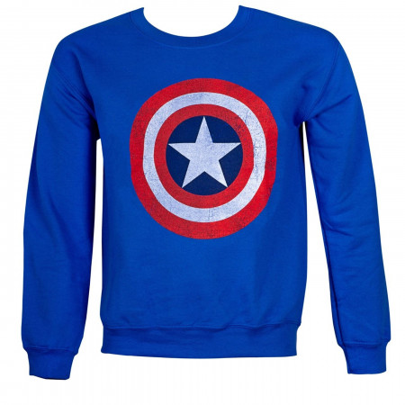 Captain America Distressed Shield Crew Neck Sweatshirt