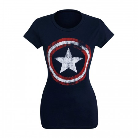 Captain America Women's Distressed Symbol T-Shirt
