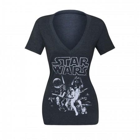 Star Wars Women's Heather Charcoal Poster T-Shirt