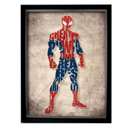 Spiderman Word Mosaic Shadowbox Art