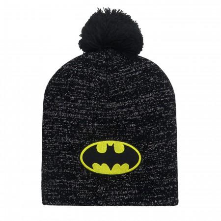 Batman Symbol Glitter Pom Pom Beanie