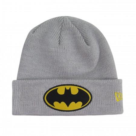 Batman Symbol Patch on Gray Cuff Beanie