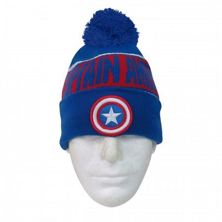 Captain America Fleece Lined Pom Pom Beanie