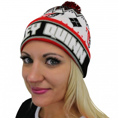 Harley Quinn Cuff Pom Pom Beanie