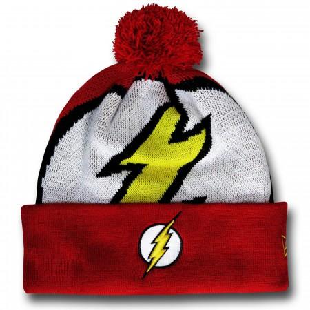 Flash Symbol Pom Pom Beanie