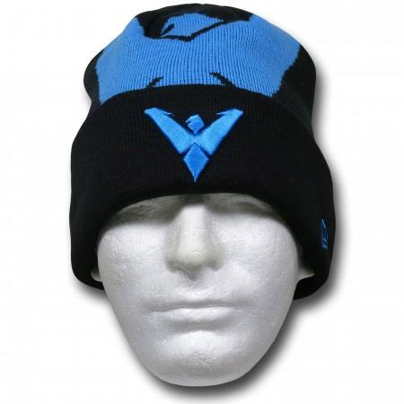 Nightwing New Era Big Symbol Black Knit Beanie