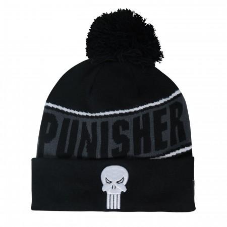 Punisher Fleece Lined Pom Pom Beanie