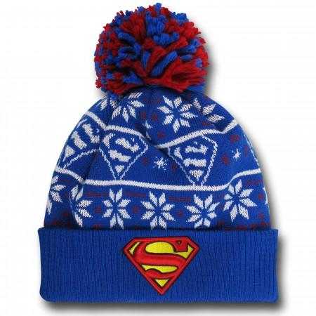 Superman Symbol Knit Pom Pom Beanie