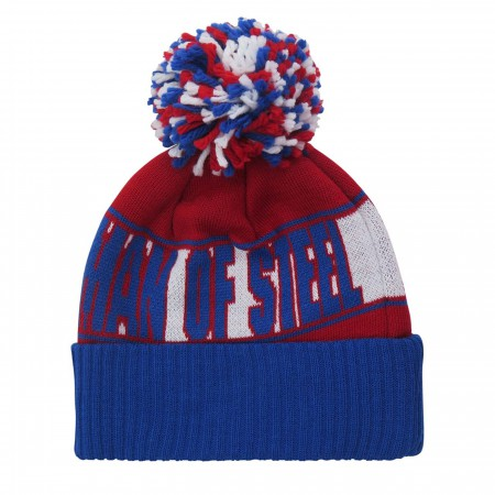 Superman Man of Steel Red White & Blue Pom Pom Beanie