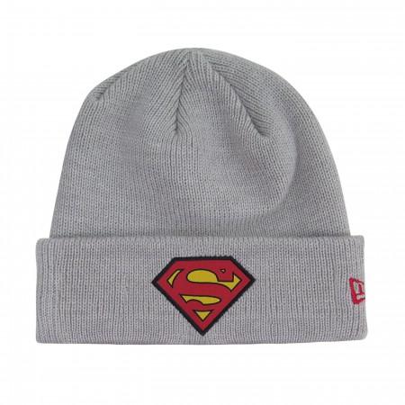 Superman Symbol Patch on Gray Cuff Beanie