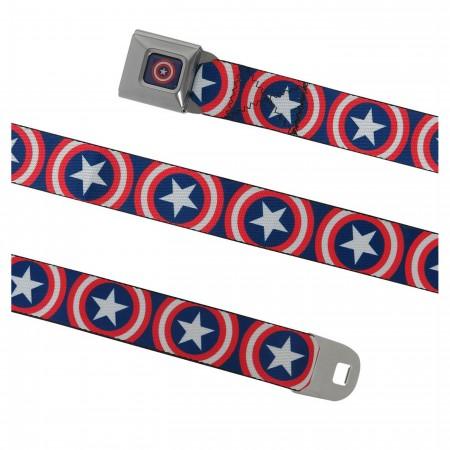 Captain America Shield on Navy Seatbelt Belt