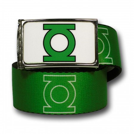 Green Lantern Symbols Green and White Web Belt