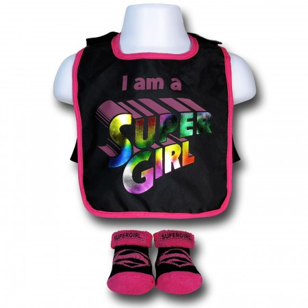 Supergirl Pink and Black Bib with Cape & Booties