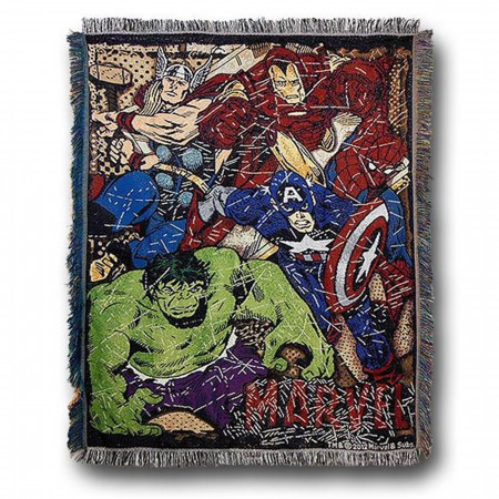 Marvel Heroes Comic Throw Blanket