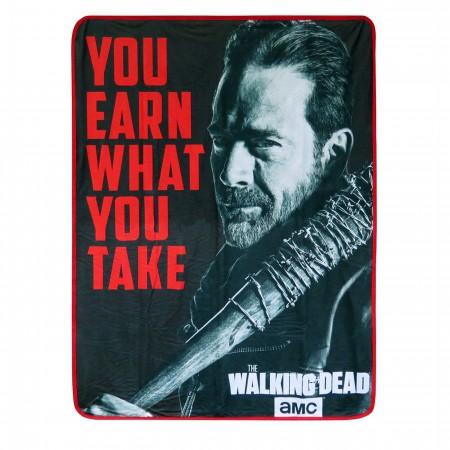 Walking Dead Negan Earn What You Take Throw Blanket