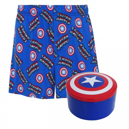 Captain America Men's Boxer Shorts with Tin Shield