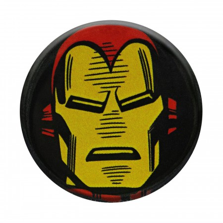 Iron Man Headshot Black Button