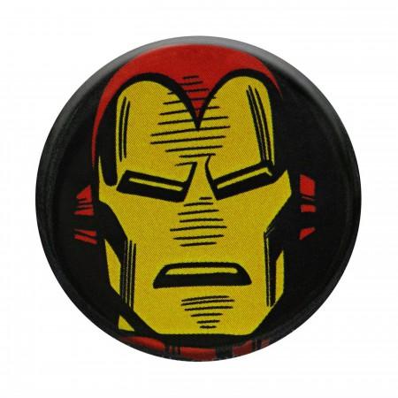 Iron Man Headshot Black Button