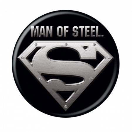 Superman Man of Steel Black Button