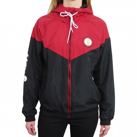 Flash Red & Black Women's Hooded Windbreaker