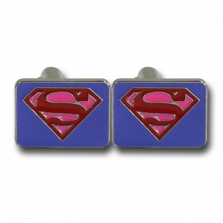 Superman Red & Purple Symbol Square Cufflinks