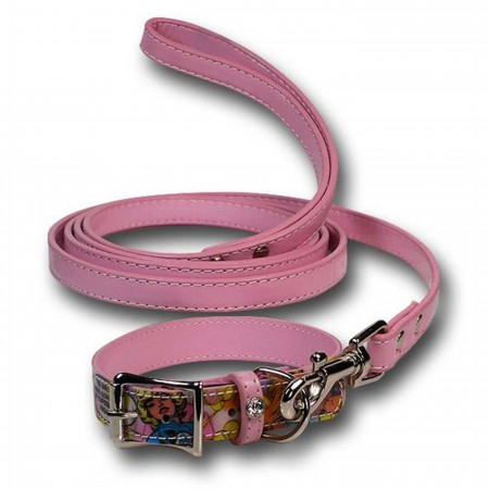 Marvel Heroines Pink Dog Collar/Leash