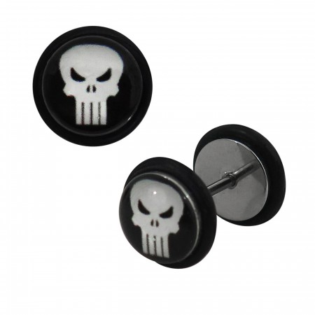 Punisher Skull 316L Surgical Steel 18G Fake Plugs