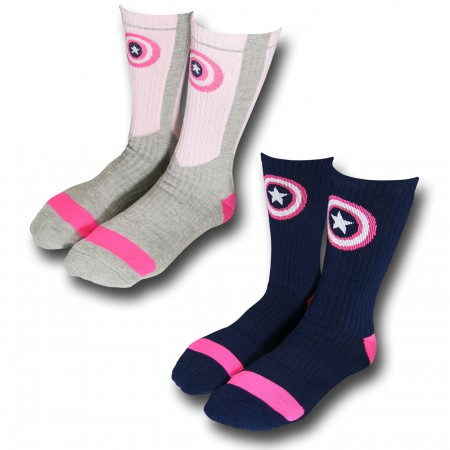 Captain America Womens Athletic Crew Sock 2-Pair Pack
