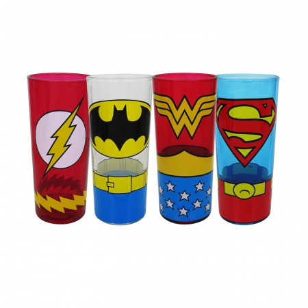 Justice League Classic Costumes 10oz Tumbler 4-Pack