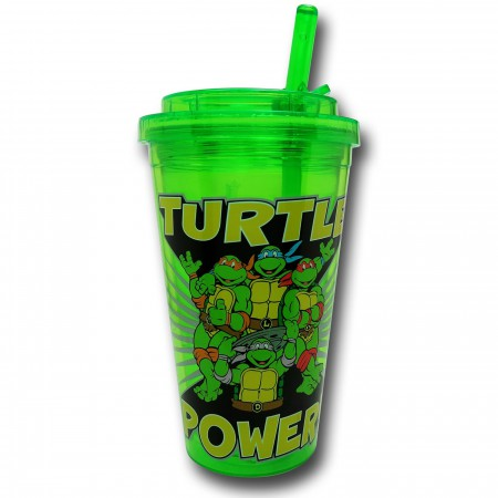TMNT Turtle Power Flip Straw 16oz Acrylic Cold Cup