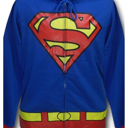 Superman Men's Costume Hoodie With Red Cuffs