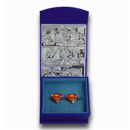 Superman Shield Color Enamel Cufflinks