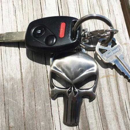 Punisher Symbol Shiny Pewter Keychain