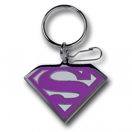 Supergirl Enamel Chrome Pink Symbol Keychain
