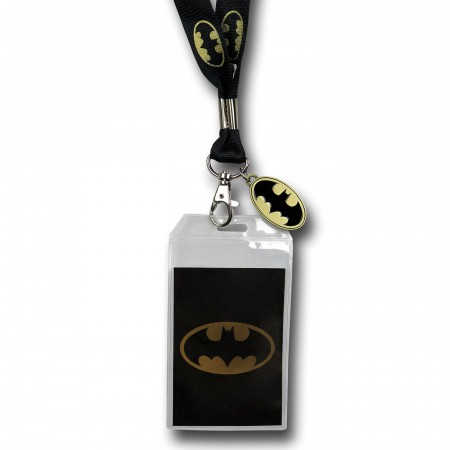 Batman Yellow Symbol Lanyard with Metal Charm